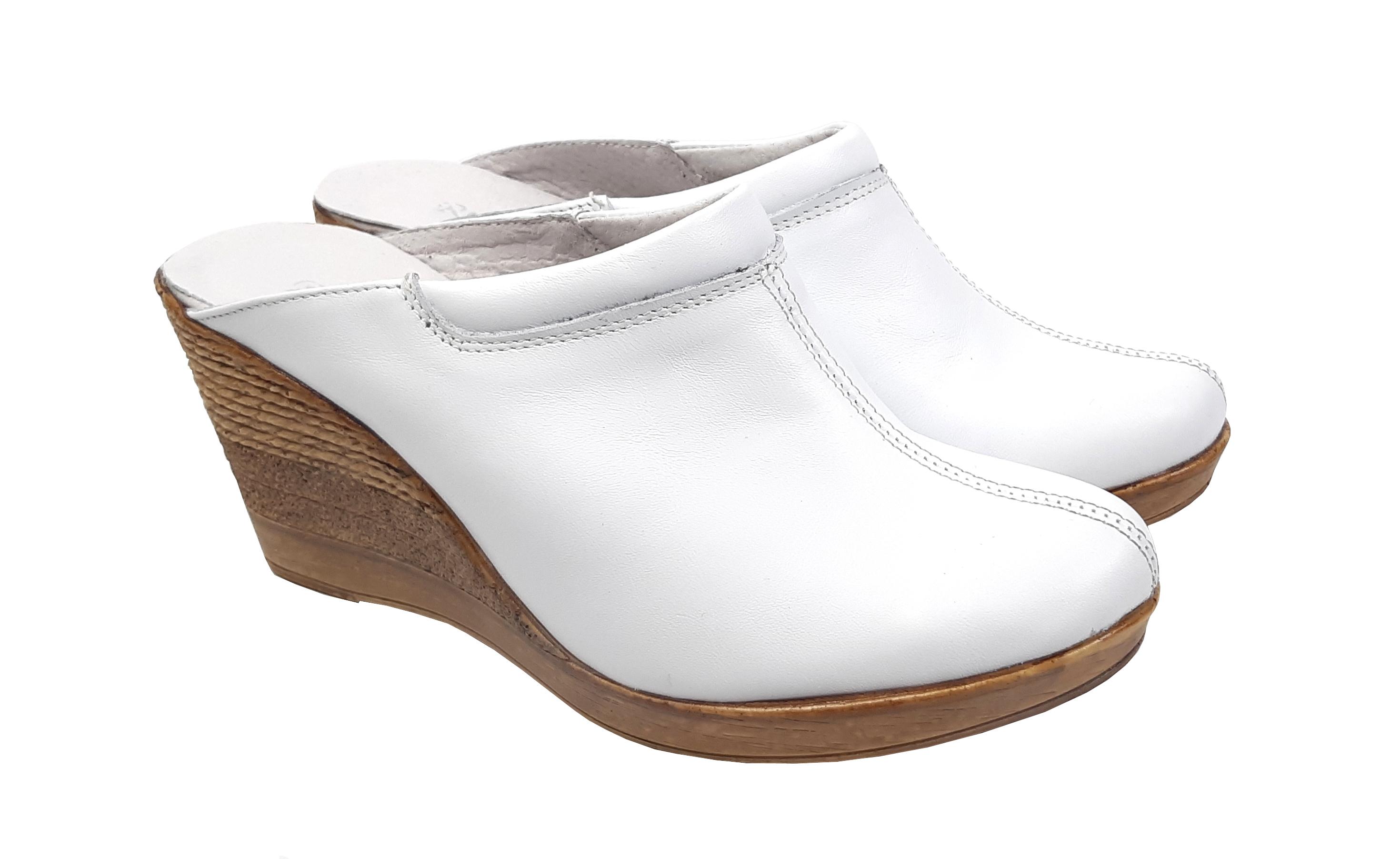 Oferta marimea 36 - Saboti dama albi din piele naturala, platforme de 7 cm, LTEA19ALB
