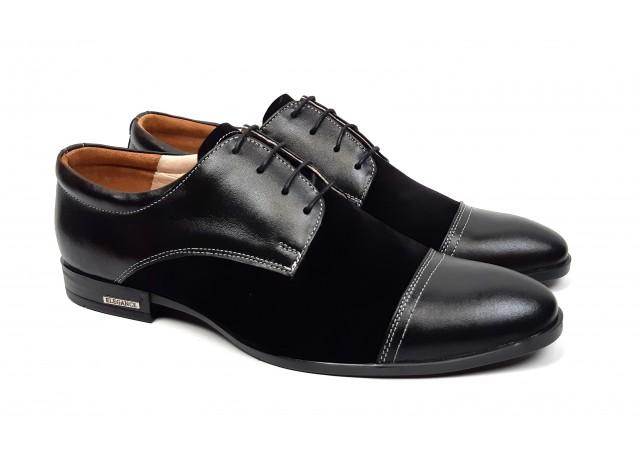 Pantofi negri barbati casual - eleganti din piele naturala 959NBENY