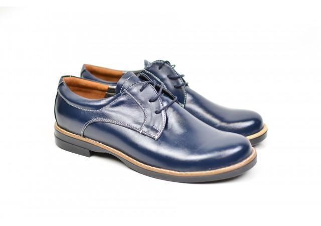 Pantofi dama eleganti casual din piele naturala, de culoare albastra - PBE434