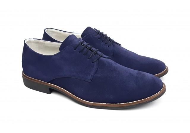 Pantofi barbati eleganti din piele naturala intoarsa bleumarin NIC164ABVEL