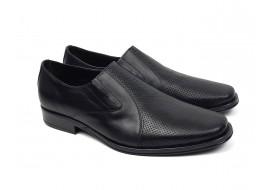 Oferta marimea 39, 40 Pantofi barbati cu elastic eleganti casual din piele naturala neagra LNIC02EL