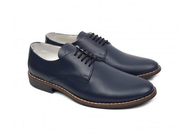 Pantofi barbati eleganti din piele naturala bleumarin NIC184BLMBOX