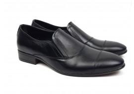 Pantofi barbati cu elastic eleganti casual din piele naturala neagra NIC210EL