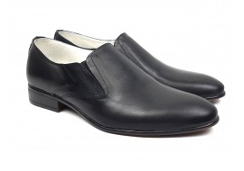 Pantofi barbati cu elastic eleganti casual din piele naturala neagra LMOD2NEL