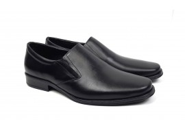 Pantofi barbati cu elastic, eleganti din piele naturala neagra - NIC03EL