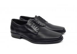Pantofi barbati eleganti din piele naturala de culoare neagra NIC03NS