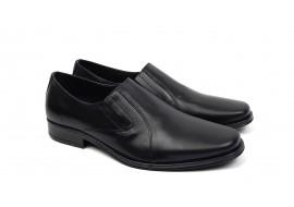 Pantofi barbati cu elastic, eleganti din piele naturala neagra - NIC02NEL3