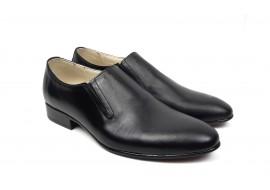 Pantofi barbati cu elastic, eleganti din piele naturala neagra - NIC5EL