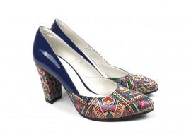 Pantofi dama eleganti din piele naturala bleumarin cu imprimeu, toc 7cm - NAA8COLOR