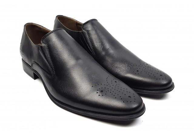 Pantofi barbati oxford, eleganti din piele naturala cu elastic - 585EN