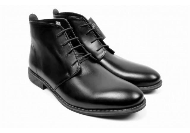 Ghete barbati casual - elegante, din piele naturala de culoare neagra - LYON43XN