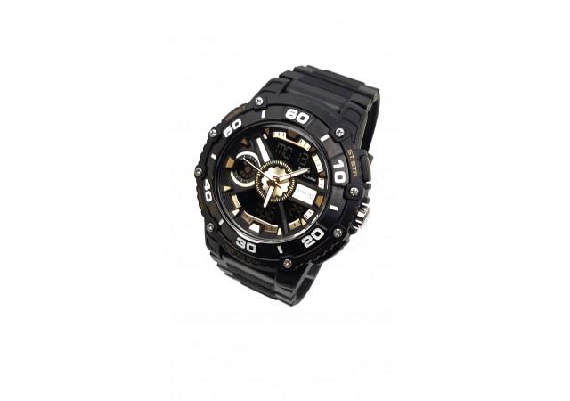 Ceas de mana barbati sport Q&Q Dual Time, cu sistem digital si analog negru cu auriu - TA9034