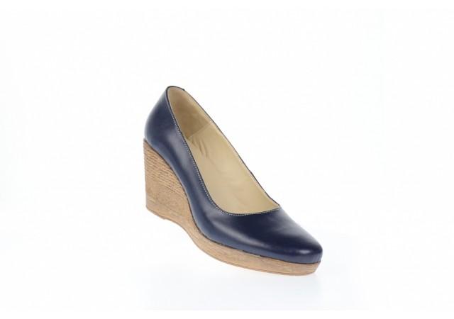 Pantofi dama casual din piele naturala cu platforma de 7 cm - P3550BL
