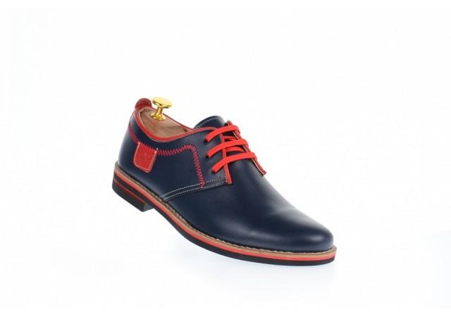 Pantofi barbati casual bluemarin cu rosu, din piele naturala, 501BLMR