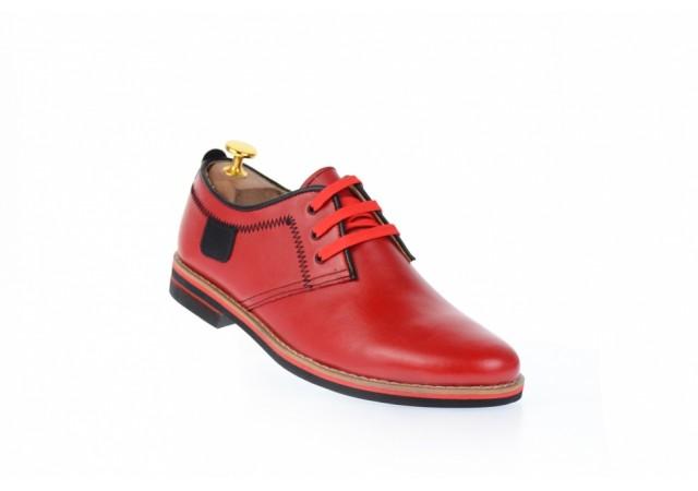 Pantofi barbati, rosii, casual, din piele naturala 501R