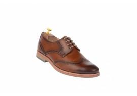 Pantofi barbati casual din piele naturala box, coniac - 500CON