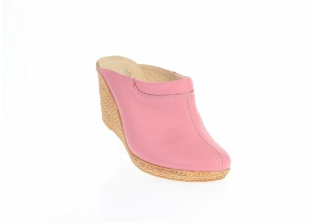 Saboti dama roz din piele naturala, platforme de 7 cm - TEA19ROZ