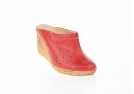 Saboti dama rosii de vara din piele naturala cu perforatii - TEA2ROSU