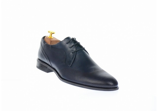 Pantofi barbati eleganti din piele naturala bleumarin inchis - SIR020BL