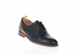 Pantofi barbati casual din piele naturala, bleumarin si maro - SIR140MBL
