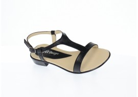 Sandale dama din piele naturala lacuita, CORA - SCORANEGRU