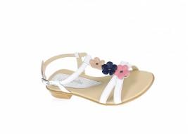 Oferta marimea 35, Sandale dama din piele naturala (Alb cu floricele) - LS47ALB