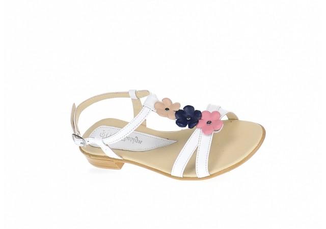 Sandale dama din piele naturala (Alb cu floricele) - S47ALB