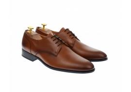 Pantofi barbati eleganti, cu siret, din piele naturala maro coniac - 703CON