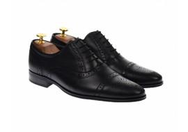 Pantofi barbati eleganti, cu siret, din piele naturala neagra - 359NEGRU