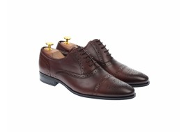 Pantofi barbati eleganti, cu siret, din piele naturala visiniu - 359VIS
