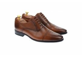Pantofi barbati eleganti, cu siret, din piele naturala maro coniac - 356CONIAC