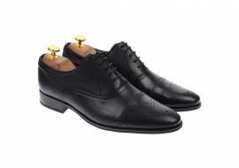 Pantofi barbati eleganti, cu siret, din piele naturala neagra - 356NEGRU
