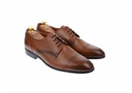 Pantofi barbati eleganti, cu siret, din piele naturala maro coniac - 702CON