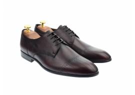 Pantofi barbati eleganti, cu siret, din piele naturala visinie - 702VISINIU