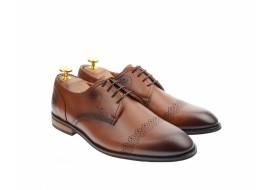 Pantofi barbati eleganti, cu siret, din piele naturala maro coniac - 700CON