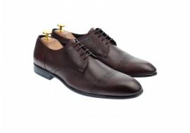 Pantofi barbati eleganti, cu siret, din piele naturala visinie - 700VISINIU