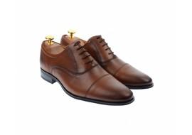 Pantofi barbati eleganti, cu siret, din piele naturala maro coniac - 347CONIAC