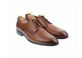 Pantofi barbati eleganti, cu siret, din piele naturala maro coniac - 346TCONIAC