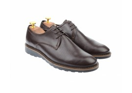 Pantofi barbati casual, cu siret, din piele naturala maro - 336AMARO