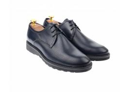 Pantofi barbati casual, cu siret, din piele naturala albastra - 336ALBASRU