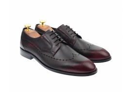 Pantofi barbati derby perforati, eleganti, cu siret, din piele naturala visinie - 708VIS