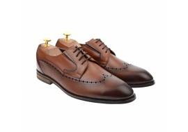 Pantofi barbati eleganti, cu siret, din piele naturala, coniac, ANGELO BRAVO, 708CON