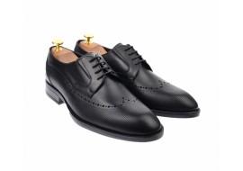 Pantofi barbati derby perforati, eleganti, cu siret, din piele naturala neagra - 708NEGRU