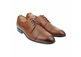 Pantofi barbati derby perforati, eleganti, cu siret, din piele naturala maro coniac - 709CON