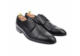 Pantofi barbati derby perforati, eleganti, cu siret, din piele naturala neagra - 709NEGRU
