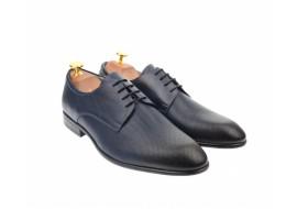 Pantofi derby barbati perforati, cu siret, din piele naturala bluemarin - 346ABLM