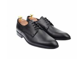 Pantofi derby barbati eleganti, cu siret, din piele naturala neagra - 346TNEGRU