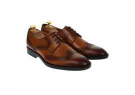 Pantofi barbati derby din piele naturala maro coniac - 500CONIAC