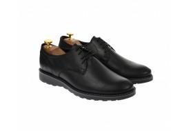 Pantofi barbati casual, cu siret, din piele naturala - 100NEGRU