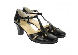 Oferta marimea 38 sandale negre dama din piele naturala cu toc de 7cm - LS48BOXN